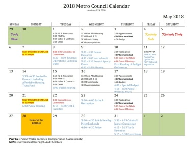 Screen shot of budget calendar